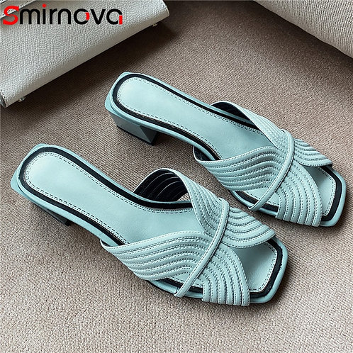 Genuine Leather Slip on Mid Square Heels Shoes Lady Female Ladies Shoes