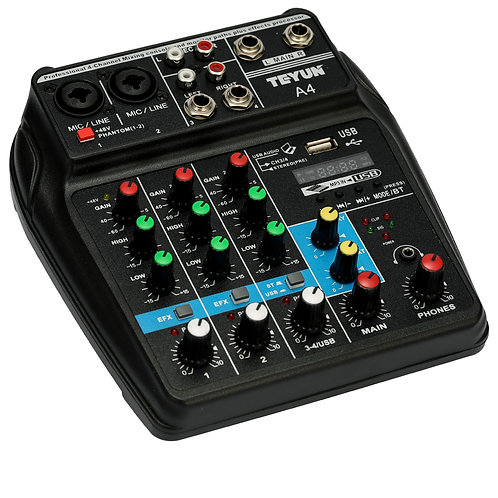 Bt 4 Channel Sound MIxer Console Power Monitor Aux Effects  Audio
