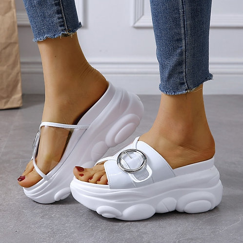 Wedge Slippers Fashion Beach Shoes Woman Flat Platform Thick Bottom Summer
