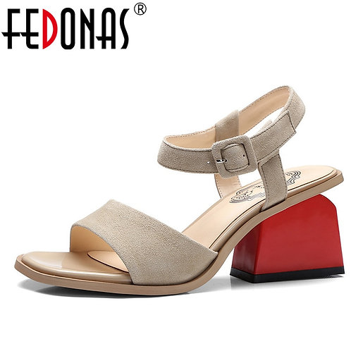 Women Cross Strappy  Genuine Leather Shoes Woman Retro Suede Wedding Party Shoes