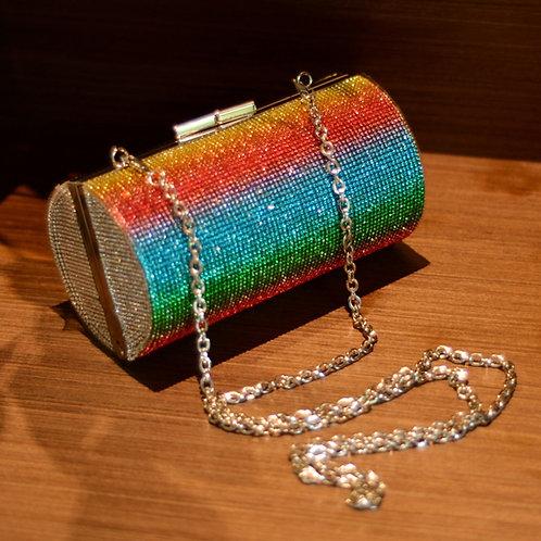 Rainbow Rhinestone Purse Clutch Bag Diamond Cylinder Shoulder Bag ZD1739