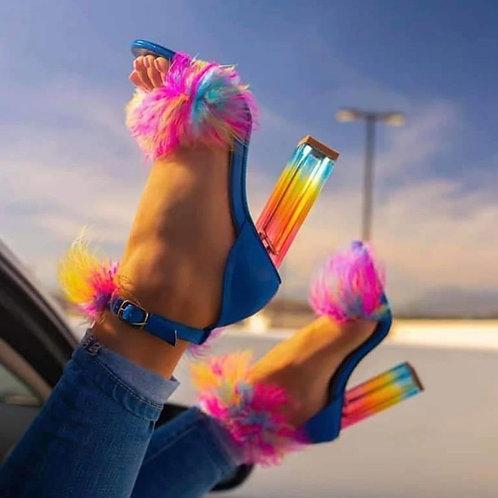 Fur h Transparent High Heels