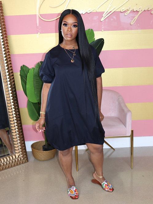 ChocoMist Dresses Casual Loose Solid Puff Sleeve Women Midi Dress AL107