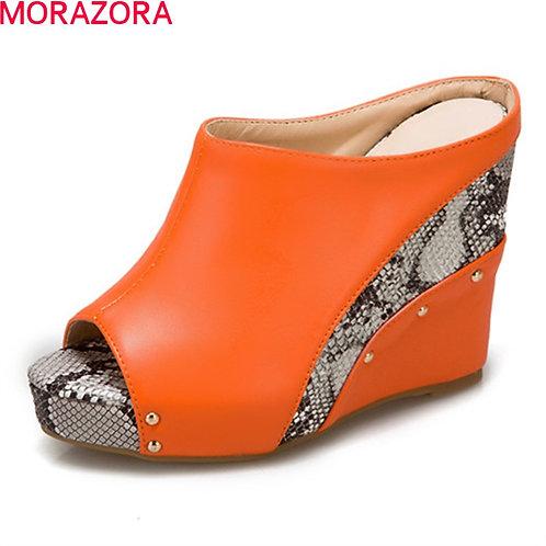 Women Slippers Fashion Wedges Platform High Heels Ladies Mules Shoes