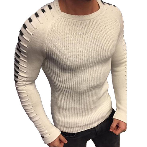Pullover Men Long Sleeve O-Neck Patchwork Knitted Solid Men Sweaters Size M-3xl