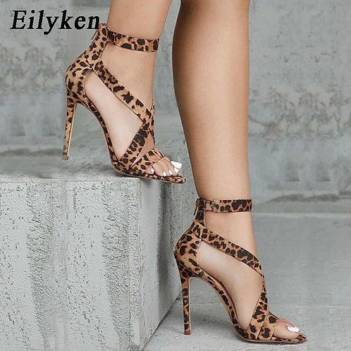 Leopard Grain  Open-Toed Thin Heels  Buckle Strap Lady Pumps Sandals Size 35-40