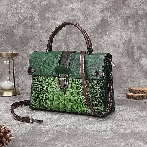 Crocodile Pattern  Handbags  Genuine Cowhide Leather  Crossbody Women Bag