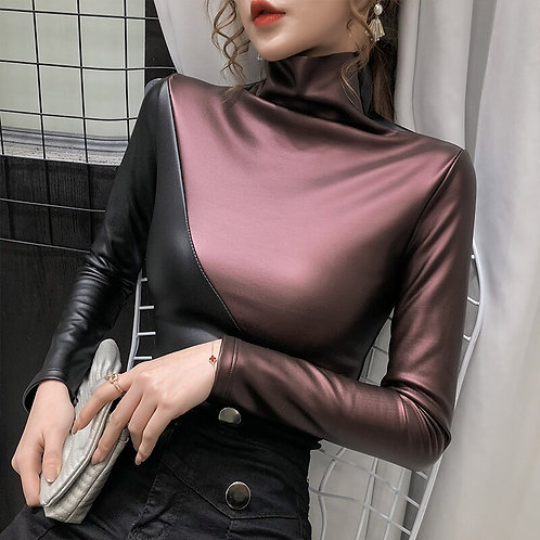 Plus size  PatchworkTurtleneck   Shirt Velvet Soft PU Leather Blouses Tops