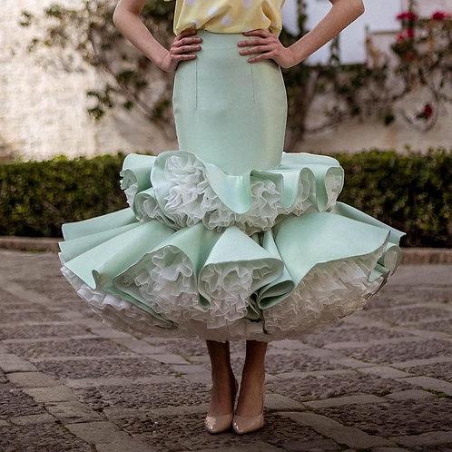 Mermaid Satin Skirts With Ruffles Tulle Ankle Length Skirt