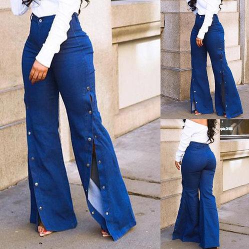 High Waist Loose Jeans Button Pants Trousers Button Zipper