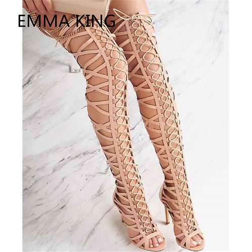 Cross-Tied Over the Knee Long Gladiator Sandals
