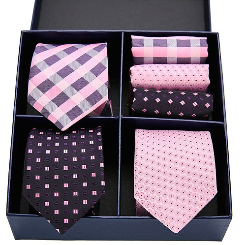 Jaquard Extra Long Tie Hanky Set for Men