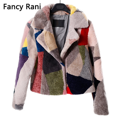 Real Fur Sheepskin Wool Coat Female Warm Outwear Patchwork Sheep Shearing Jacket