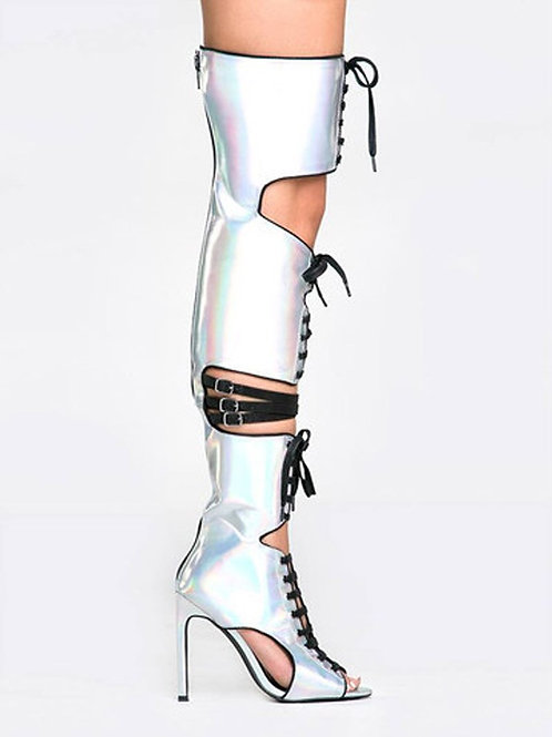 Laser Reflecting Straps Buckle Stiletto Heels Shiny Leather Sandals Thigh Boots