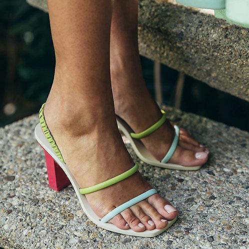 Square Heel  Ladies Mules Gladiator Sandal Casual Slides High Heel Shoes Woman