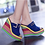 Thumbnail: Mixed Colors Platform Wedge High Heels Slippers  Peep Toe Slides Size 34-43