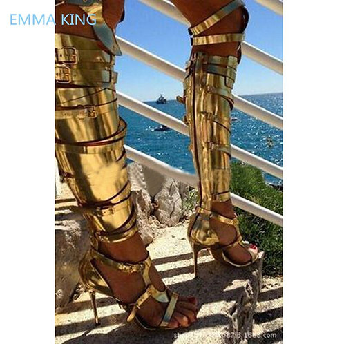 Women Over Knee Gladiator Sandals   Gothic Shoes Woman Sandals Boots