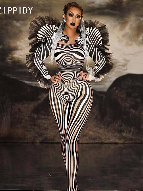 Zebra Printed Spandex Bodysuit