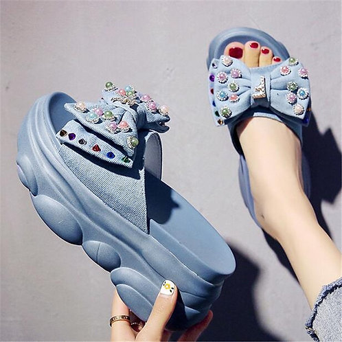 Chunky Butterfly-Knot Crystal Beads Sandals Girl Platform Outdoor Casual Slides