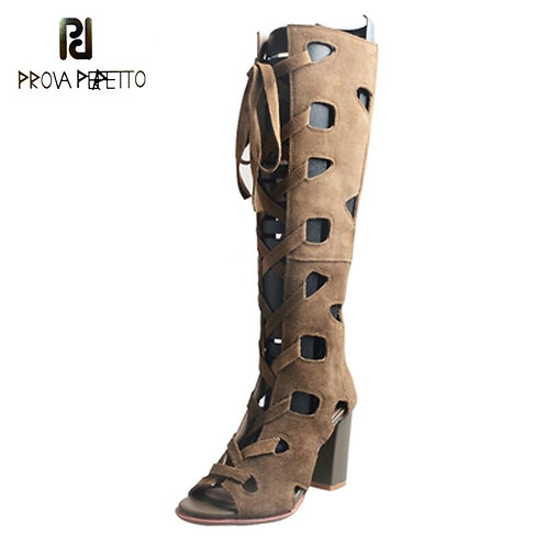 Open-Toed Lace Up High-Heeled Boots Thick Heel Hollow Out Sandals Women's Shoes
