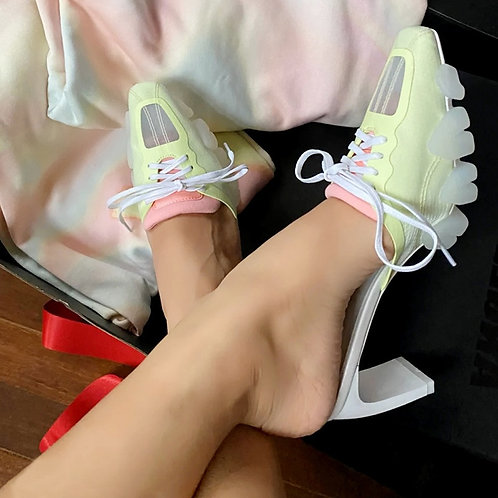 High Heel Slipper Summer Sandals Lace-Up Women Pumps  Slides Rubber Shoes Woman