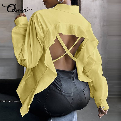 Ruffles Backless BlouseShirts Elegant Long Seeve Lapel Hollow Out Party Blusas 7
