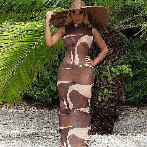 Abstract Print Sheer Mesh Bodycon  Dress Summer Beach Vacation Outfits D66-Bb12