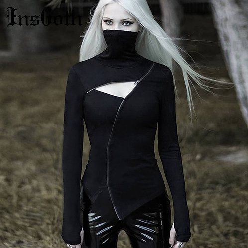 Turleneck Bodycon Gothic Punk Zipper Hollow T-Shirt  Top