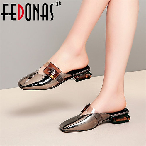 Big Buckle Decoration Small Sqaure Toe Low Heels  Pumps Nigh Club Shoes Woman