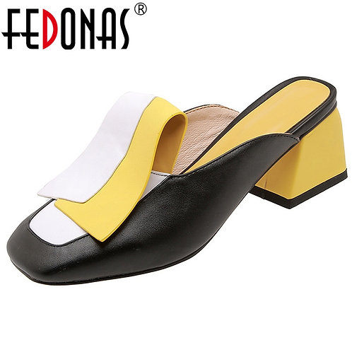 Pu Leather Women Pumps Classic Rome Square Toe Sandals Mules Casual Shoes Woman