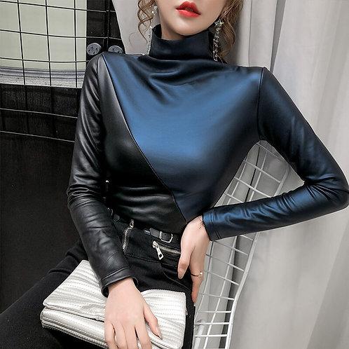 Plus size  PatchworkTurtleneck   Shirt Velvet Soft PU Leather Blouses Tops