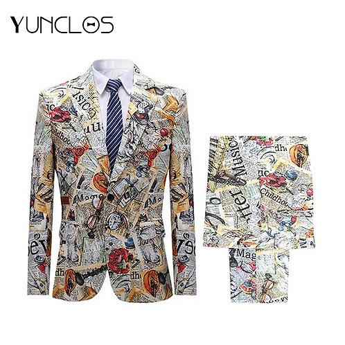 Men 2 Pcs Suits Colorful Printing Jacket  Buckle Men Suit Slim Fit