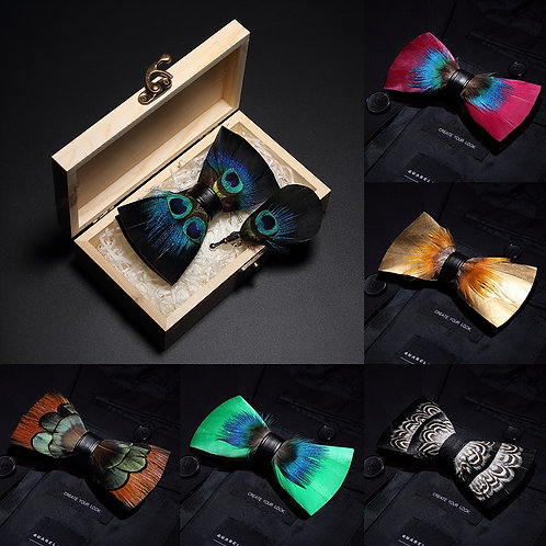 Natural Brid Feather Hand Made Men Bow Tie Brooch Pin Wooden Gift Box Set