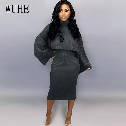 Turtleneck Pullovers Sweater Top Dress Suits Casual Long Sleeve Matching Sets