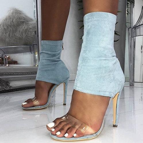 High Heel Ladies Sandals ZipperStretch Denim Women Summer Shoes