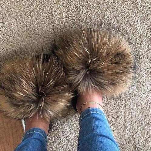 Raccon Fur Sandals Furry Fluffy Plush Shoes