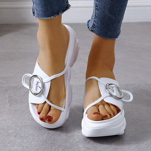 Wedge Slippers Fashion Shoes Woman Flat Platform Thick Bottom Summer