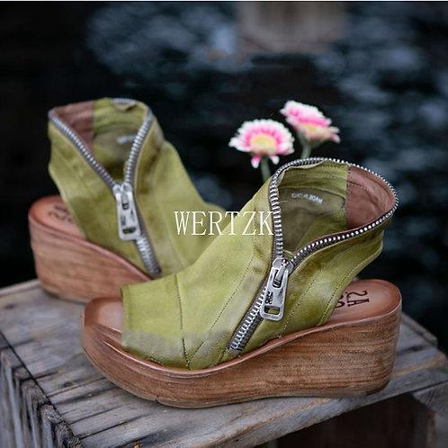 Mid Heels Wedges Shoes Ladies Vintage PU Leather Plus Size 40 Sandalias Mujer
