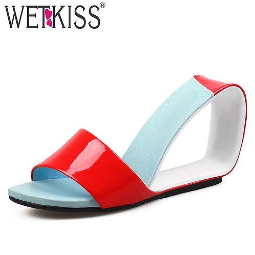 Women Open Toe Footwear Genuine Leather Slide Mules
