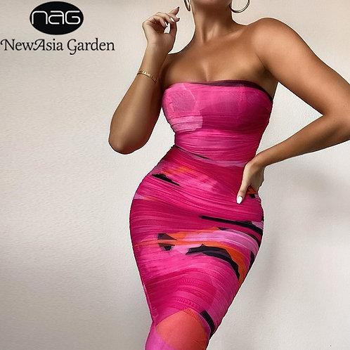Mesh Midi Dress Women Strapless Slim Fit BodyconP Sexy Dress