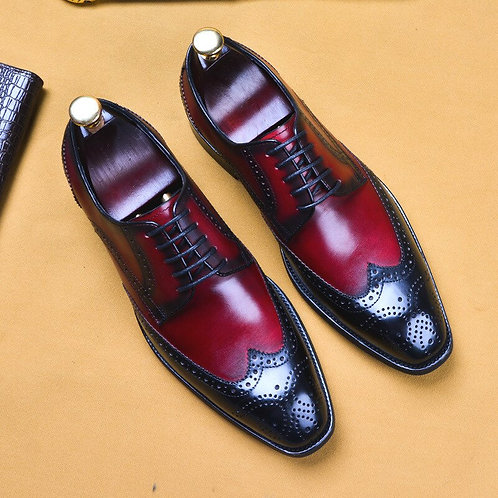 Genuine Cow Leather Flats Vintage Handmade Oxford Shoes for Men 2019 Red Black