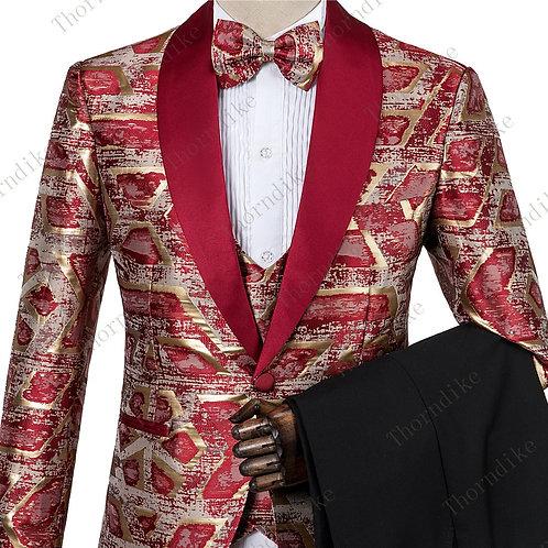 Red Gold Jacquard  Blazer+Pants+Vest Suits Male Casual Slim Blazer Coat Suit