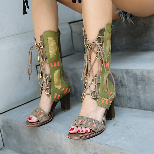 Genuine Leather Lace Up Gladiator Chunky High Heels Hollow out Women Pumps