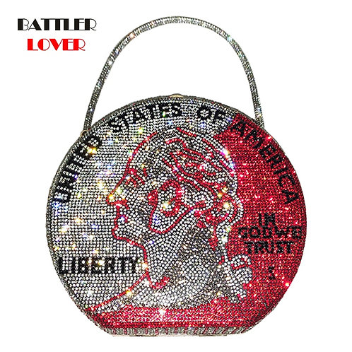 Shining Crystal Dime Coin Handbag and Purse  Shoulder Crossbody Bag