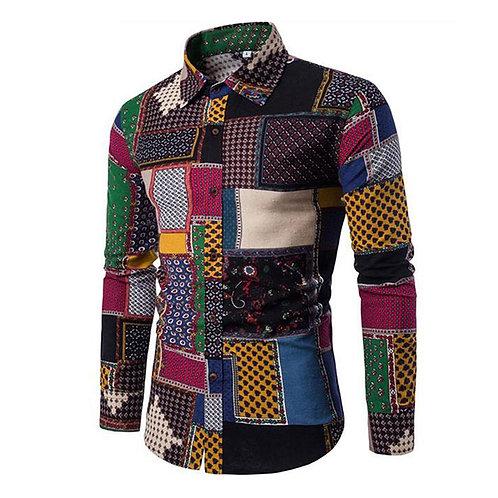 Shirt Men's  Linen Long Sleeve Shirt  M- 5XL