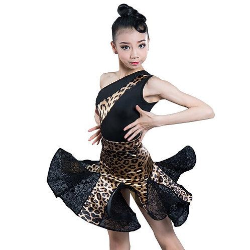 salsa Tango Skirts Kid Child Leopard Latin  Split Dress With Leotard and Skirt