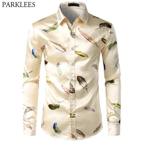 Satin Smooth Men Long Sleeve Casual Men Designer Shirts s