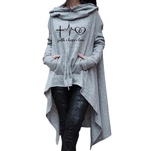 Faith Hope Love Letters Print Hoodies Long IrregularSweatshirt