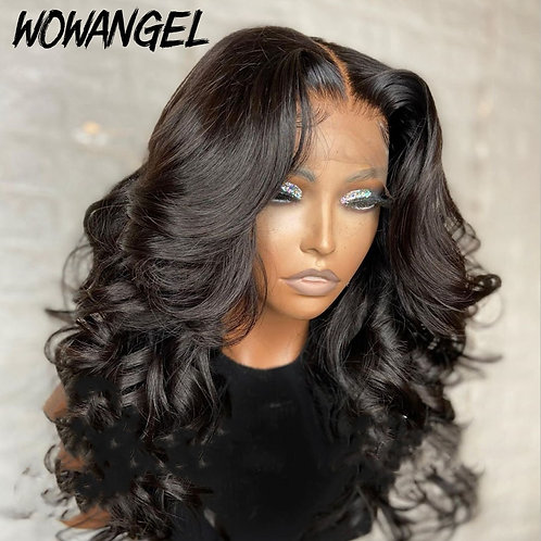 Wow Angel 150nDensity 4x4 Lacefront PrePlucked Short Baby Hair Frontal Hair Wig