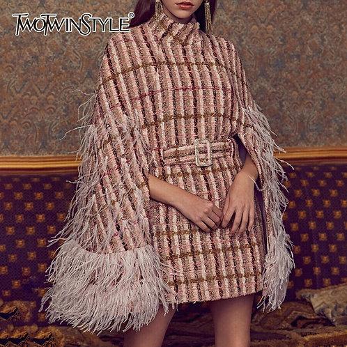 Feathers Diamonds Plaid Turtleneck Cloak Sleeve High Waist  Fashion Clothes
